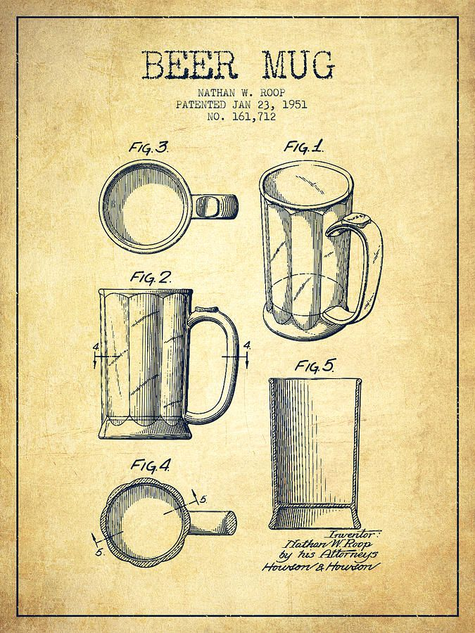Beer Mug Patent Drawing From 1951 - Vintage Drawing by Aged Pixel