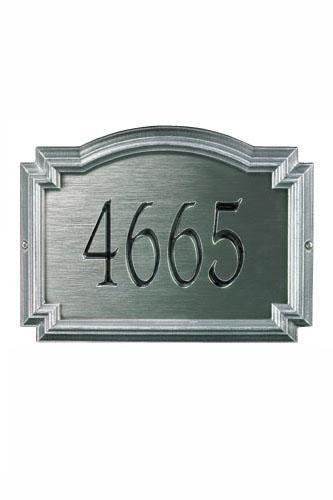 Williamsburg One-Line Estate Metal Wall Address Plaque - standard/1 line, Slate Grey by Home Decorators Collection. $143.00. Williamsburg One-Line Estate Metal Wall Address Plaque - House Signs From Our Address Plaque Collection Are In A Class By Themselves. These Premium, Textured And Dimensional House Markers Are Designed With Larger Letters And Numbers For Maximum Visibility. Choose From Our Exceptional Array Of Custom Address Plaques To Best Suit Your Home. Our Elegant Hou...