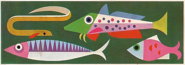 "Pescado | ""Cartilla escolar de Alimentación""1973 dibuixos de F. Martínez Chávez"