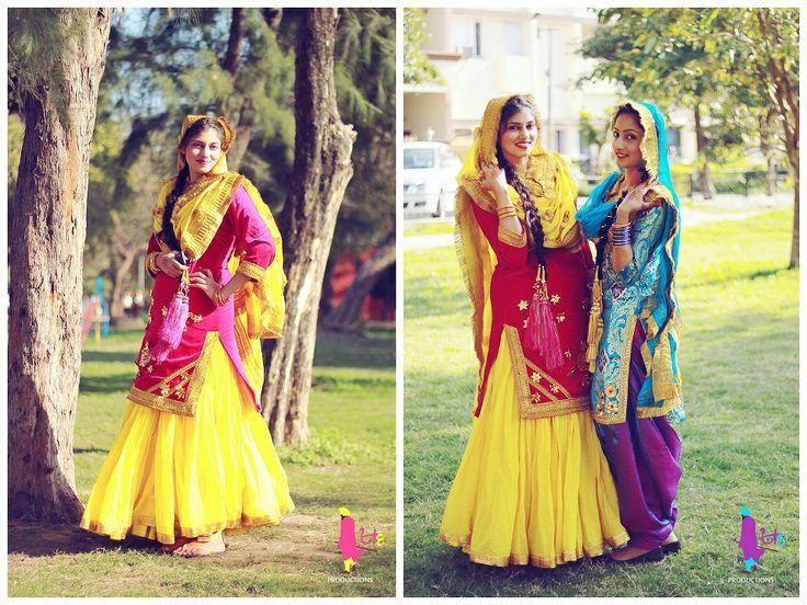 cultural dress, red, pink, yellow, blue, purple, Punjabi mutiyar, Punjabi Girl, Giddha Girls, giddha, prandi