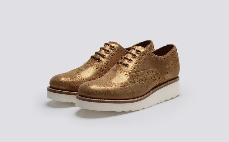 Emily | Women's Oxford Brogue in Old Gold Sparkle Calf Leather with a White Wedge Sole | Grenson Shoes - Three Quarter View