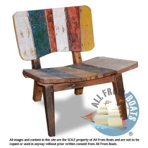 low chair, reclaimed boat timber. Nautical, recycled, reclaimed, boatwood, boat furniture.