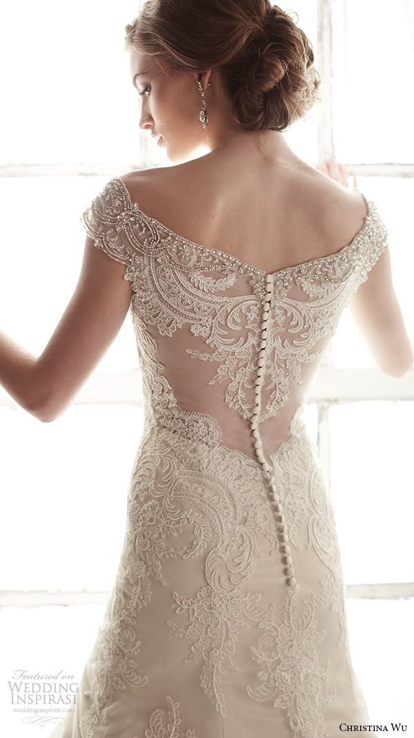 christina wu wedding dresses 2015 beaded cap sleeves v neckline elegant embroidered mermaid wedding dress 15582.back view