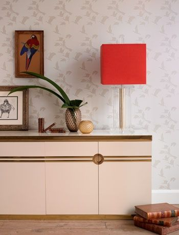 belljarsf.com Classic exotic bird wallpaper - Turner Pocock Cazalet. 1970s style living room.