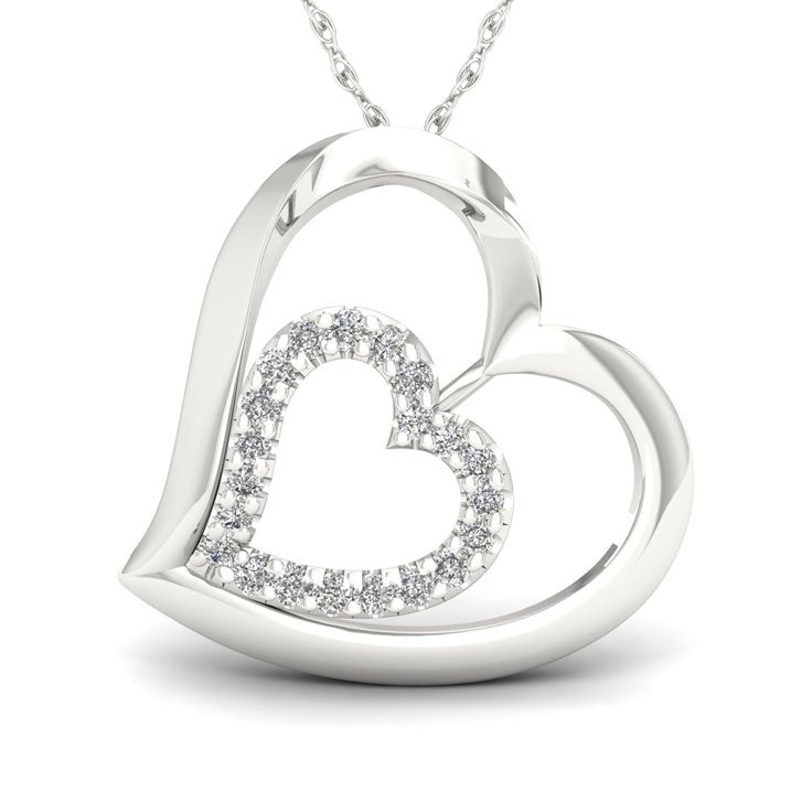 Amouria 1/8ct TDW Diamond Heart Necklace in Sterling Silver, Women's