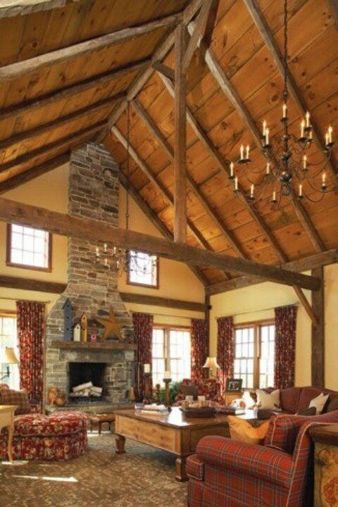The 99 best images about exposed roof trusses on pinterest for Vaulted ceiling with exposed trusses