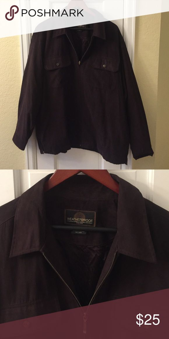"""Men's Fall Jacket Men's jacket size large. Color is hard to describe. It's like a wine color. Can be dressed up or down. Lightly lined. Two chest pockets and two side pockets. Sueded feel. Polyester shell with lining. Sleeves 24"""", body 29"""". Chest 25.5"""". Great condition. No issues. 20% off bundles! Jackets & Coats"""