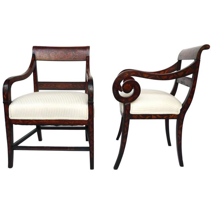 Early 19th Century Dutch Empire Armchairs, a Pair | From a unique collection of antique and modern armchairs at https://www.1stdibs.com/furniture/seating/armchairs/