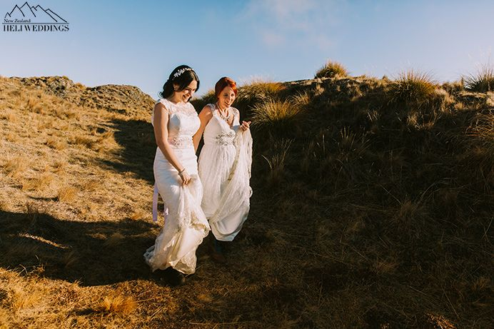 Samesex Wedding, same sex mountain wedding with two brides, heli wedding wanaka