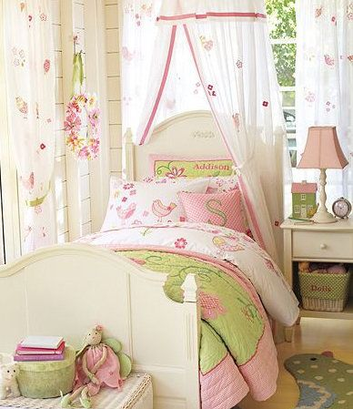 This Pottery Barn Kids pin from Jennifer Zomer uses pink, green and white to create a cheerfully cozy mood.  Visit our Dream Kids Rooms Pinterest Board to see the rest of our dream room picks, including some unique nurseries!  Photo Source: Pinterest