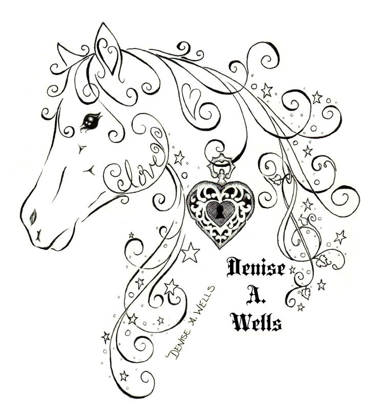https://flic.kr/p/s1rGM6 | Love Horse Tattoo Design by Denise A. Wells | Horse Tattoo made with filigree, stardust, sparkles and stars, Hearts, the word Love, Treble Clef and including a hanging heart locket.  tattoo design by Denise A. Wells