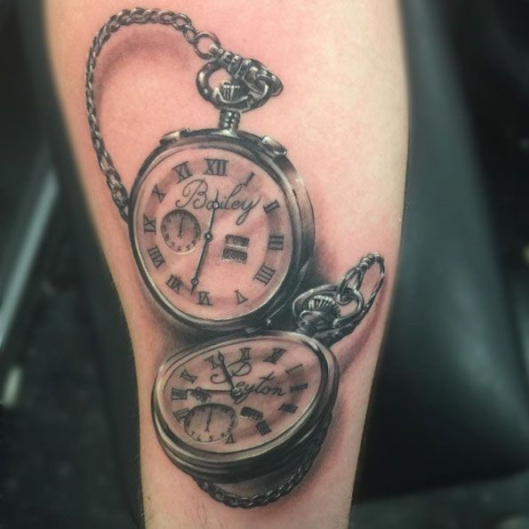 Pocket Watch Children Tattoo by Caleb Cashew