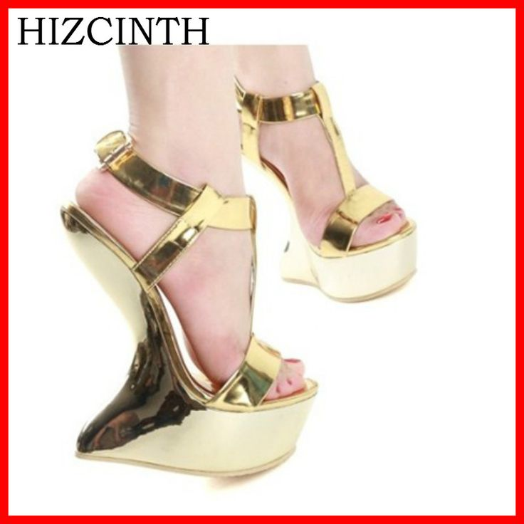 HIZCINTH 2018 Summer Gladiator Sandals Women's Shoes Tide Golden Metal Buckles Platform High Heels Nightclubs Female Sandalias