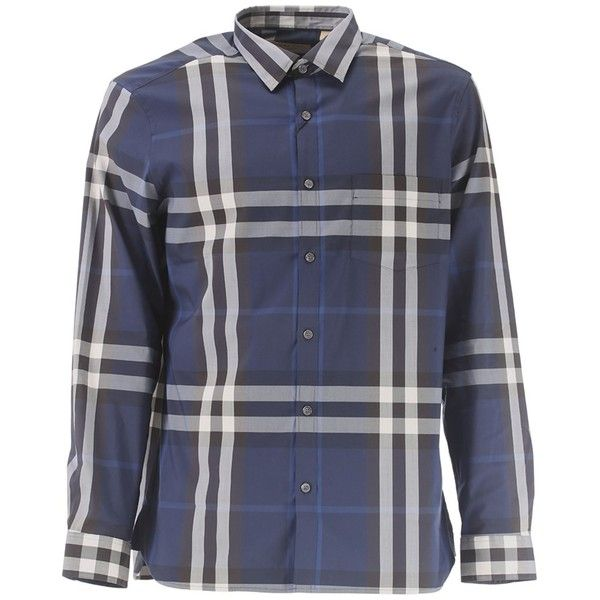 Burberry Burberry Men's Blue Cotton Shirt | Bluefly.Com ($508) ❤ liked on Polyvore featuring men's fashion, men's clothing, men's shirts, men's casual shirts, blue, mens shirts and mens blue shirt