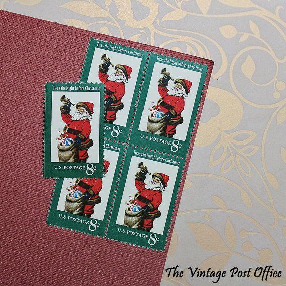 Ten 8c Santa Claus .. Vintage Unused US by TheVintagePostOffice
