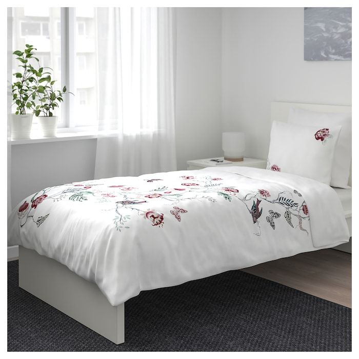 Jattelilja Duvet Cover And Pillowcase S White Floral Patterned Twin Ikea Duvet Covers Ikea Quilt Cover Duvet Cover Pattern