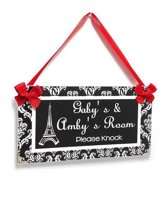Personalizable Teens Bedroom Name Door Sign  Dark Grey and White Damask   Eiffel Tower Paris Inspired Design. 25  unique Bedroom door signs ideas on Pinterest   Harry potter