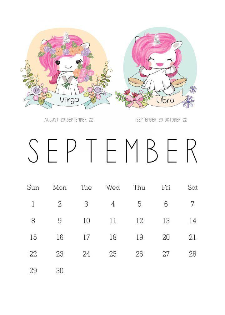 Kawaii Calendar 2019 September October And December Free Printable 2019 Zodiac Sign Kawaii Unicorn Calendar | 2019