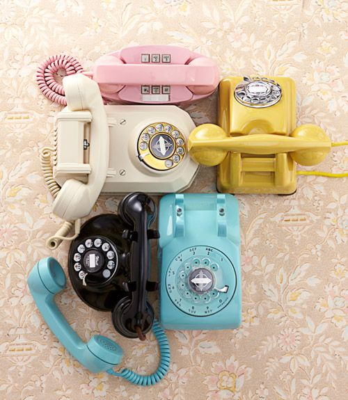 These colorful vintage phones would add a bright pop to your home.