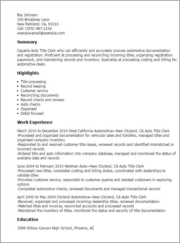 professional auto title clerk templates showcase your talent for resume