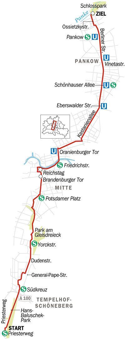 Kein Zweifel, Berlin ist eine Radlerstadt. Aber wie lange braucht man eigentlich, um einmal quer durch die Stadt zu fahren? Von Süd nach Nord zum Beispiel, von Schöneberg zum Schloss Schönhausen in Pankow. Wir haben es ausprobiert – und wollten dazu noch wissen, ob so eine Tour noch mehr zu bieten hat als einfach nur ein Fahrgefühl. Ein bisschen Stadtgeschichte ...