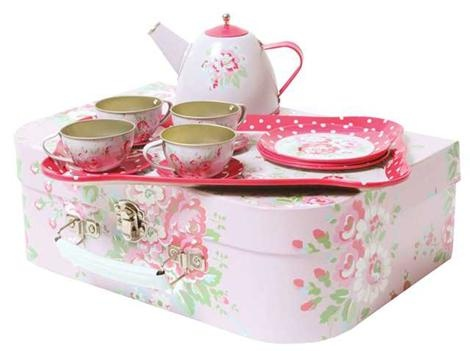 Tiger Tribe Vintage Tin Tea Set          Price: $34.95     Beautiful vintage tin tea set by Tiger Tribe is the perfect gift for any young hostess!     This 15 piece tea set will ensure the loveliest tea parties and best of all - no broken plates, it's tin!  http://www.littlebooteek.com.au/Christmas-/Most-Popular-Gifts-for-Girls/Tiger-Tribe-Vintage-Tin-Tea-Set/122/993/productview.aspx#.UIaqF-ecRvU.pinterest