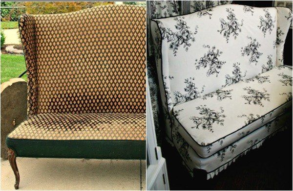 s 14 shocking furniture transformations using fabric, painted furniture, reupholster, She Turned This Old Settee Chic