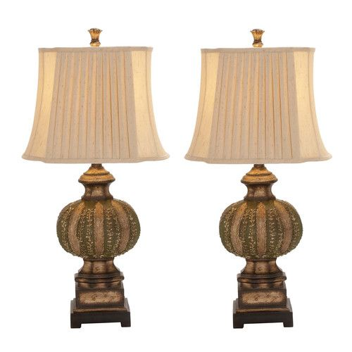 """Found it at Wayfair - Urban Chateau Bordeaux 34"""" H Table Lamp with Bell Shade"""