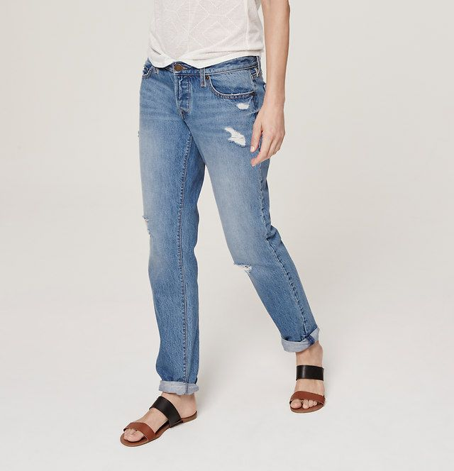 Petite Boyfriend Jeans in Destructed Cargo Blue Wash | Loft