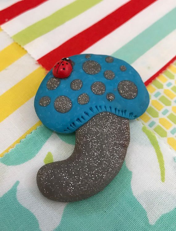 Handmade jewellery Quirky Blue and Silver Sparkly Mushroom