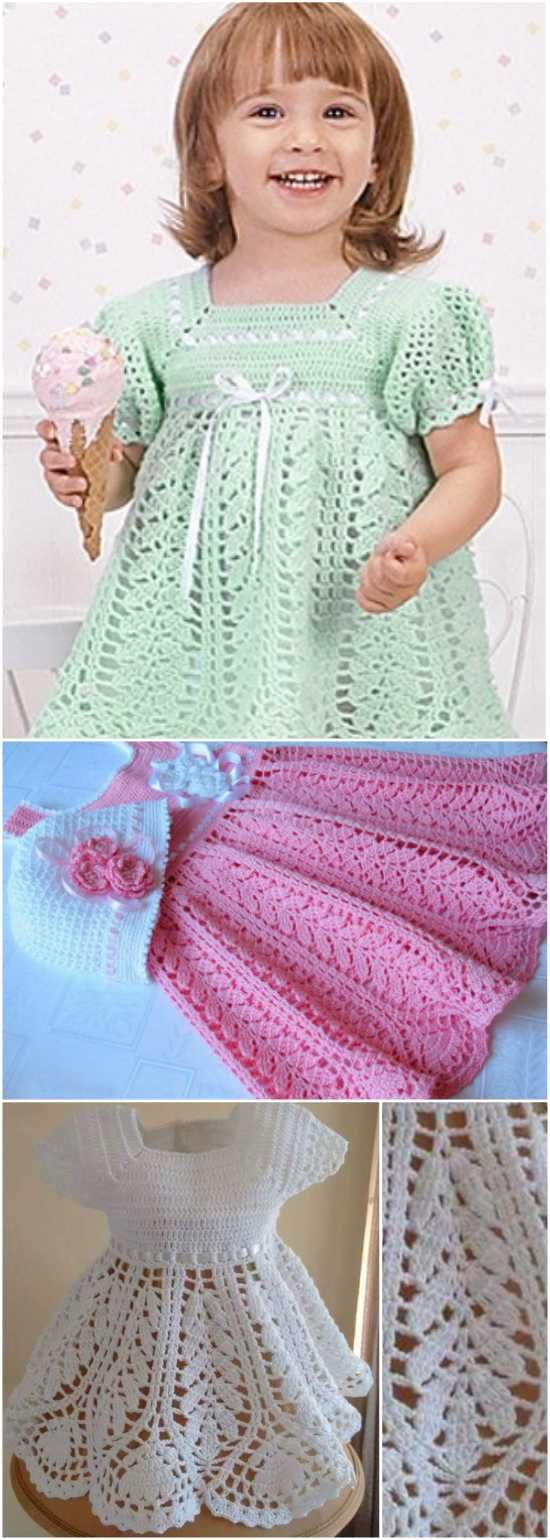 This is a beautiful and classic dress for the miniature women in your family. The loosely stitched lotus skirt is nicely offset by the densely stitched bodice. While it can be made in any color, or even color combination, single light hues are a definite preference. Making it out of soft and/or hypoallergenic yarn will make it even more appropriate for a baby. For more free designs every day follow us on Facebook. Link to the free pattern is below. If you enjoyed this article please like...