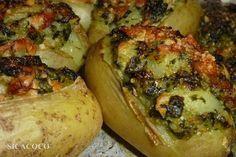 POMMES DE TERRE FARCIES AUX ÉPINARD......... perso je préfère sans le saumon voila pourquoi je le met dans le classeur légumes...