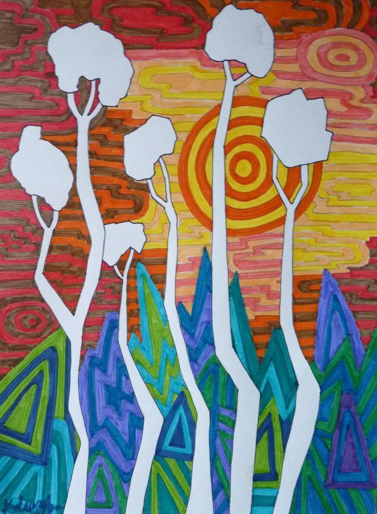 3/4 - Pos/Neg space, Warm/Cool colors, Landscape. Bam!