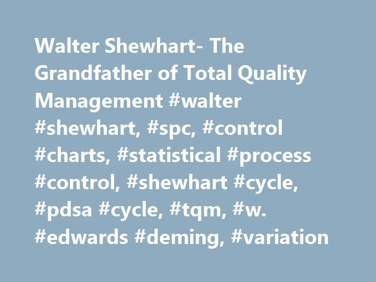 Walter Shewhart- The Grandfather of Total Quality Management #walter #shewhart, #spc, #control #charts, #statistical #process #control, #shewhart #cycle, #pdsa #cycle, #tqm, #w. #edwards #deming, #variation http://south-africa.nef2.com/walter-shewhart-the-grandfather-of-total-quality-management-walter-shewhart-spc-control-charts-statistical-process-control-shewhart-cycle-pdsa-cycle-tqm-w-edwards-deming-var/  # Walter Shewhart – The Grandfather of Total Quality Management. The original…