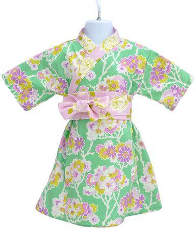 Kimono Dress in MINT FLORAL Yukata Modern Kimono Girls Baby Toddler