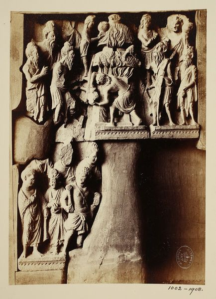 Pakistan (In the collection of Lahore Museum, photographed) Descriptive line Photograph depicting the extinguishing of the sacred fire in a fire temple, Greco Buddhist (Gandhara School). India, ca. 1st to 2nd century A.D.