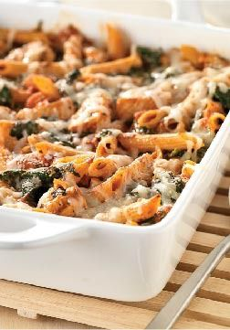 Three-Cheese Chicken Penne Pasta Bake – Hundreds of people can't be wrong. Check out this creamy, cheesy, heart casserole that sports a solid 5 stars for deliciousness as well as smarts.