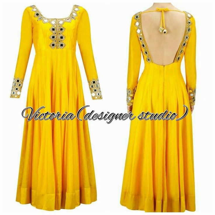 Yellow anarkali,mirror work with open back !