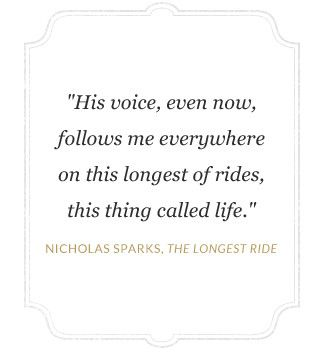"""Nicholas Sparks:  """"The longest ride"""" Curate for a Cause"""