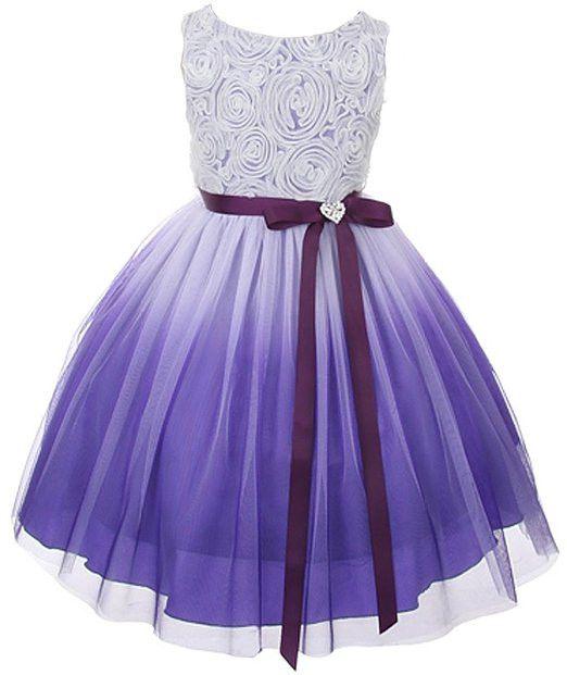 Rosette & Ombré Tulle Overlay Girls Dress by Kid's Dream (Purple)