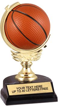 Basketball Trophy with Spinning Squeezable Ball