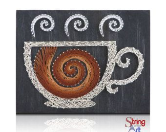 String Art DIY Kit Coffee Cups String Art by StringoftheArt
