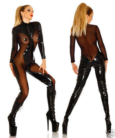 Wetlook Pvc Catsuit Latex Catwoman Bodysuit Sexy Clubwear