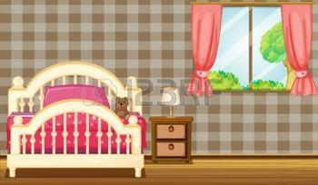illustration  chambre: Illustration d'un lit à côté d'une fenêtre sur une journée ensoleillée.