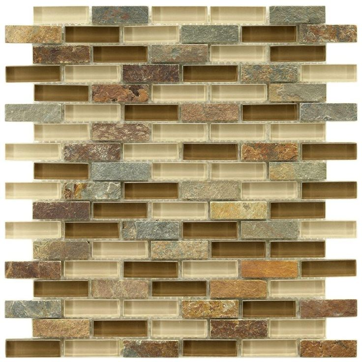 merola tile tessera subway brixton in x in x 8 mm glass and stone mosaic tile home depot - Backsplash Tile Home Depot 2