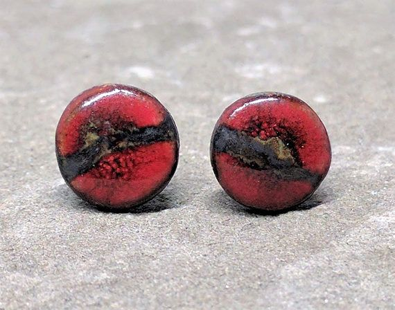 9mm Bright Red Earrings, Large Blood Red Ear Studs, Large Round Stoneware Ceramic Earrings, Red Ear Studs, Nature Sculptures  #jewelry #inspiration #serenity #bliss #followyourbliss #artandfashion #artisanjewelry #handmadejewelry #gift #earrings #ceramics #stoneware #womensfashion #style #fashion #design #ceramicjewelry #etsy #etsyshop #etsyseller #love #jewelryaddict #jewelrydesigner #uniquejewelry #jewelrylover