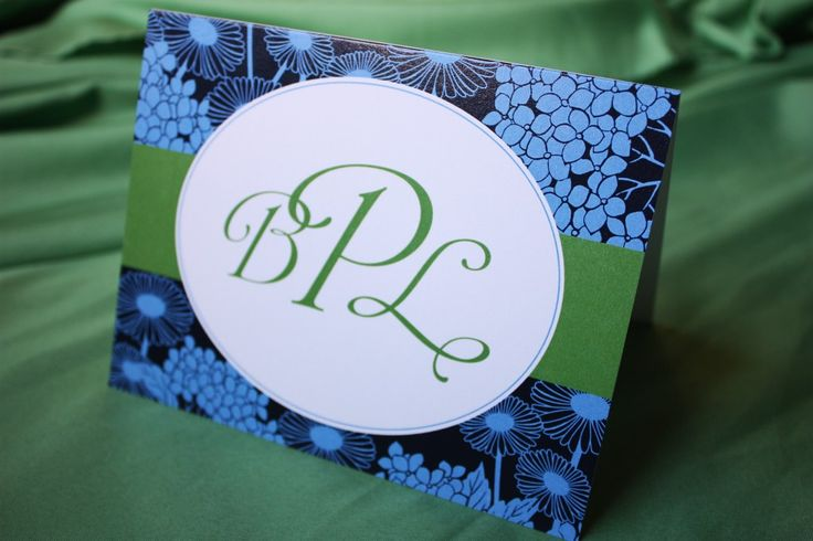 Navy, Cornflower Blue, and Green Daisy and Hydrangea Oval Frame Wedding Monogrammed Notecards