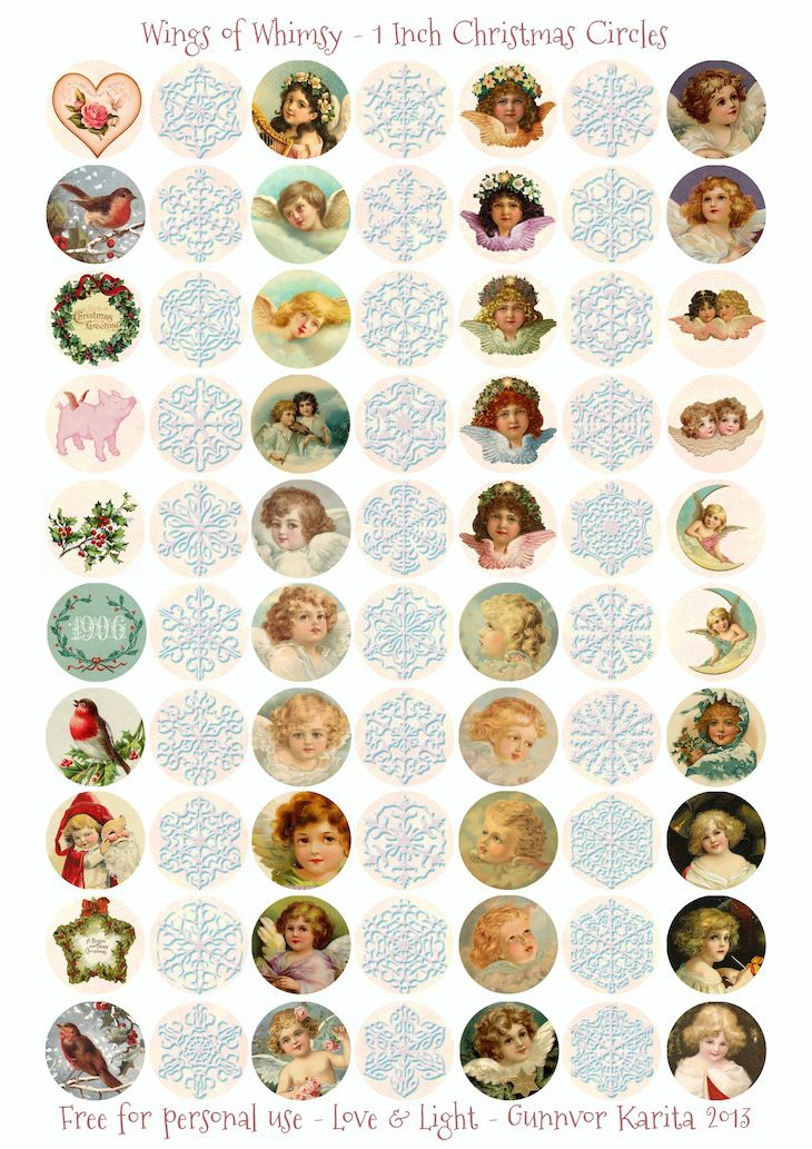 Wings of Whimsy: 1 Inch Christmas Circles - free for personal use #printable #freebie #ephemera #vintage