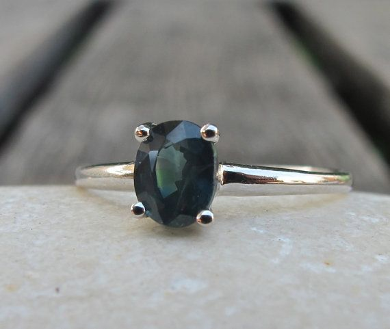 Blue Green Sapphire Ring-Anniversary Rings-Silver by Belesas