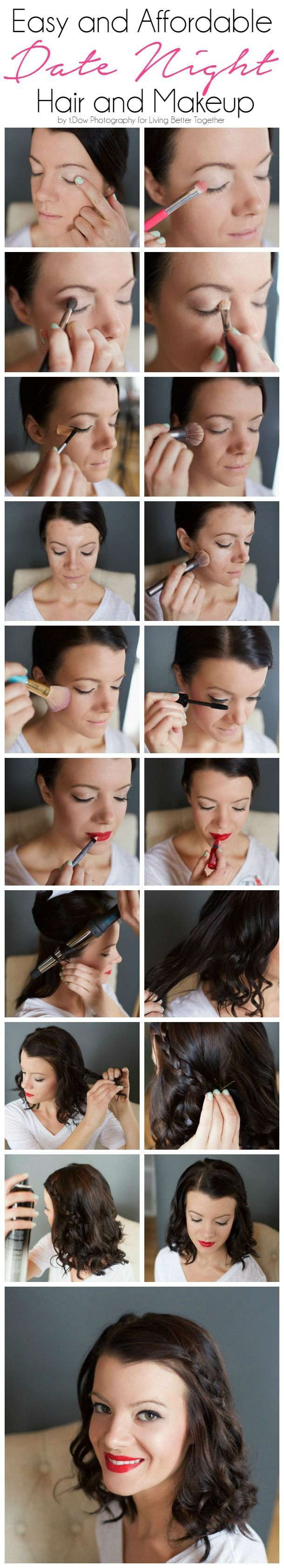 This Easy and Affordable Date Night Hair and Makeup Tutorial gives you a step by step on getting a glam look using products you can find at the drugstore. @tdow17